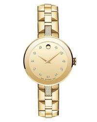 Movado Metallic 'sapphire' Diamond Mirror Dial Bracelet Watch