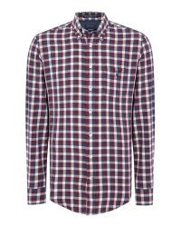 GANT | Red Gingham Twill Shirt for Men | Lyst