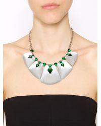 Alexis Bittar Green Crystal Deco Petal Bib Necklace