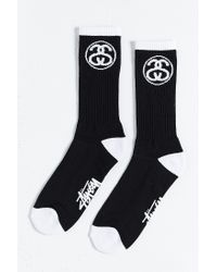 Stussy | Black Link Sock for Men | Lyst