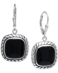 Macy's | Black Onyx Cushion Drop Earrings In Sterling Silver | Lyst