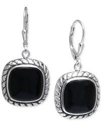 Macy's - Black Onyx Cushion Drop Earrings In Sterling Silver - Lyst