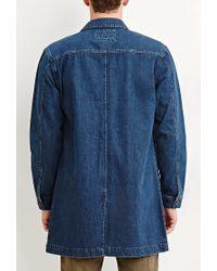 Forever 21 - Blue Longline Denim Jacket for Men - Lyst