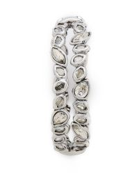 Alexis Bittar Metallic Antique Set Crystal Stack Bracelet - Silver