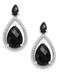 Macy's - Metallic Faceted Onyx (1-1/3) And Diamond (1/3 Ct. T.w.) Earrings In 14k White Gold - Lyst