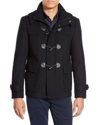 Michael Kors Blue Wool Blend Duffle Coat With Removable Hood for men