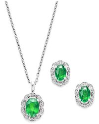 Macy's Green Emerald (2 Ct. T.w.) And Diamond Accent Jewelry Set In Sterling Silver