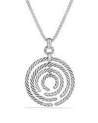 David Yurman - Metallic Willow Medium Pendant With Diamonds On Chain - Lyst
