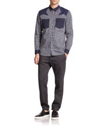 MSGM - Blue Star Shoulder Woven Shirt for Men - Lyst