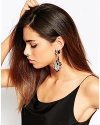 Little Mistress - Metallic Black Stone Drop Earrings - Lyst
