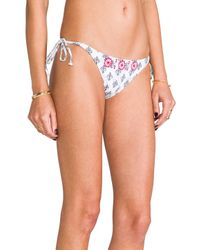 Pilyq | Side Embroidered Teeny Bottoms in White | Lyst