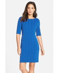 Julia Jordan Blue Geometric Pattern Knit Body-con Dress