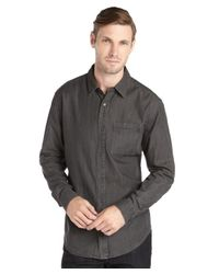Elie Tahari - Gray Grey Cotton Woven Light Spring Wash 'steve' Shirt for Men - Lyst