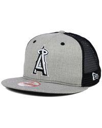KTZ Gray Los Angeles Angels Of Anaheim Heather Trucker 9fifty Snapback Cap for men