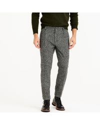 J.Crew - Gray Pleated Trouser In Black And White Tweed for Men - Lyst