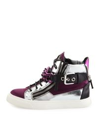 Giuseppe Zanotti - Purple Chain & Zipper Hi-Top Sneaker - Lyst