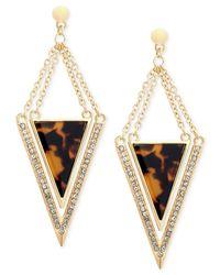 Guess | Metallic Gold-tone & Leopard Epoxy Triangle Drop Earrings | Lyst