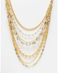 Little Mistress | Metallic Multirow Chain Statement Necklace | Lyst