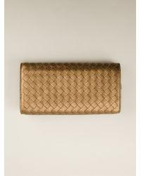 Bottega Veneta - Metallic Intrecciato Wallet - Lyst