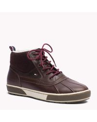 Tommy Hilfiger | Brown Leather High Top Sneaker | Lyst