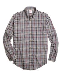 Brooks Brothers | Gray Non-iron Milano Fit Signature Tartan Sport Shirt for Men | Lyst