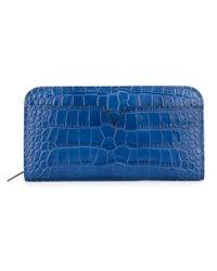 Vince   Blue Crocodile Skin Effect Wallet   Lyst