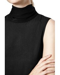 French Connection Black Polly Plains Roll Neck Top