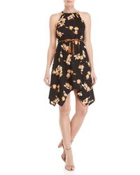 Almost Famous Black Floral High-neck Sharkbite Hem Dress