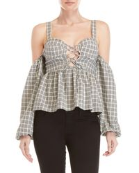 Tularosa Black Elsie Check Off-the-shoulder Lace-up Bustier Top