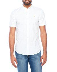 Farah White Printed Button-Down Shirt for men