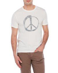 John Varvatos   White Peace Sign Crew Neck for Men   Lyst
