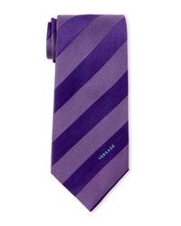 Versace | Purple Dash Stripe Silk Tie for Men | Lyst