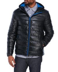 Cole Haan | Black Coated Quilted Hooded Jacket for Men | Lyst