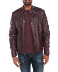 Kenneth Cole Reaction | Multicolor Faux Leather Buckle Collar Jacket for Men | Lyst