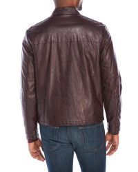 Kenneth Cole Reaction - Multicolor Faux Leather Buckle Collar Jacket for Men - Lyst
