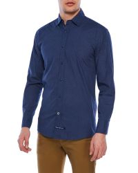 English Laundry Blue Elegant Arrogant Printed Shirt for men