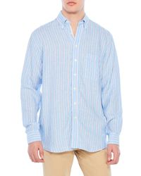 Mine   Blue Washed Linen Button-Down Shirt for Men   Lyst