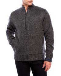 Weatherproof | Gray Mock Neck Speckled Knit Jacket for Men | Lyst