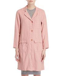 Le Mont St Michel Pink Linen Long Coat