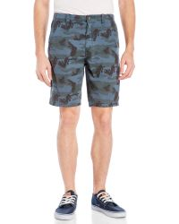 Indigo Star - Gray Camouflage Flat Front Shorts for Men - Lyst