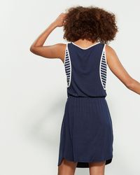Fever Blue Sleeveless Contrast Piping Dress