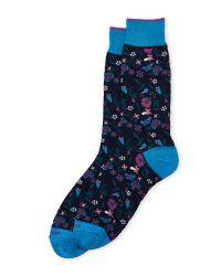 Duchamp | Blue Patterned Crew Socks for Men | Lyst
