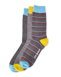 Ben Sherman Gray 3-Pack Grey Multi Stripe Socks for men