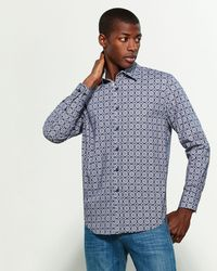 Con.struct Blue Navy Geometric Slim Fit Sport Shirt for men
