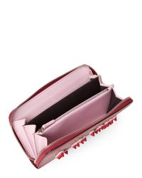Fendi - Red Black Cherry Love Leather Zip-around Wallet - Lyst