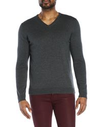 Roberto Collina - Gray Wool V-Neck Sweater for Men - Lyst
