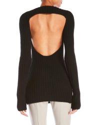 Les Copains - Black Wool-Blend Open Back Sweater - Lyst