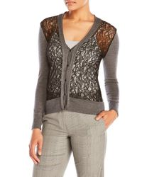Sharon Wauchob - Gray V-Neck Lace Front Cardigan - Lyst