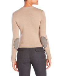Jil Sander Navy - Natural Wool Elbow Patch Sweater - Lyst