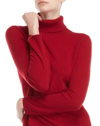 Qi Red Cashmere Turtleneck